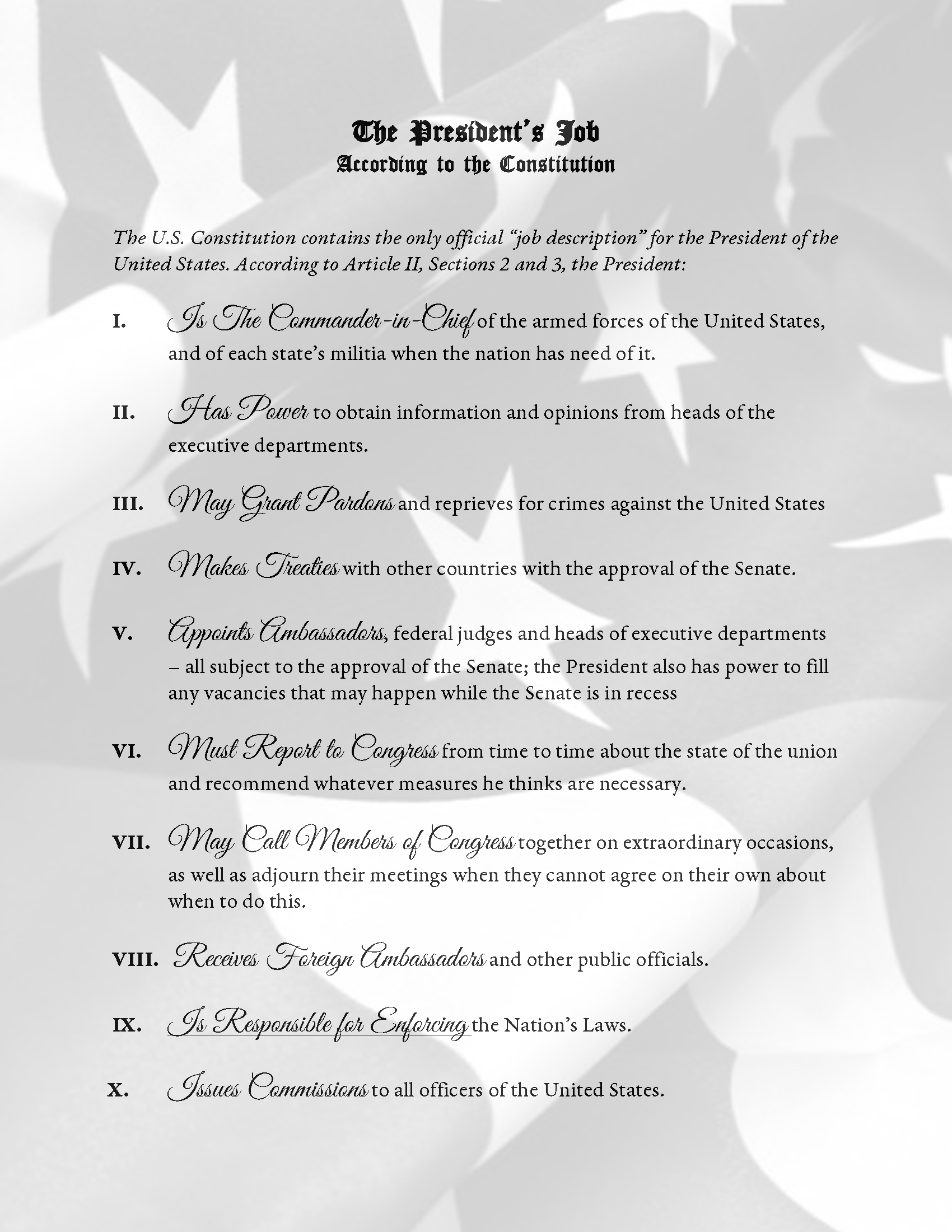 The Presidents Job According to the Constitution